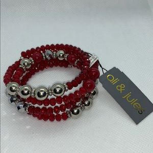 Ali & Jules bracelet red and silver